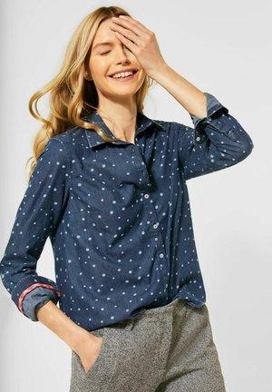 MIT PUNKTEN - Button-down blouse - blau