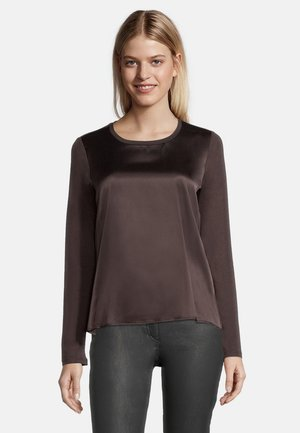 MIT GLANZEFFEKT - Blouse - dark chocolate