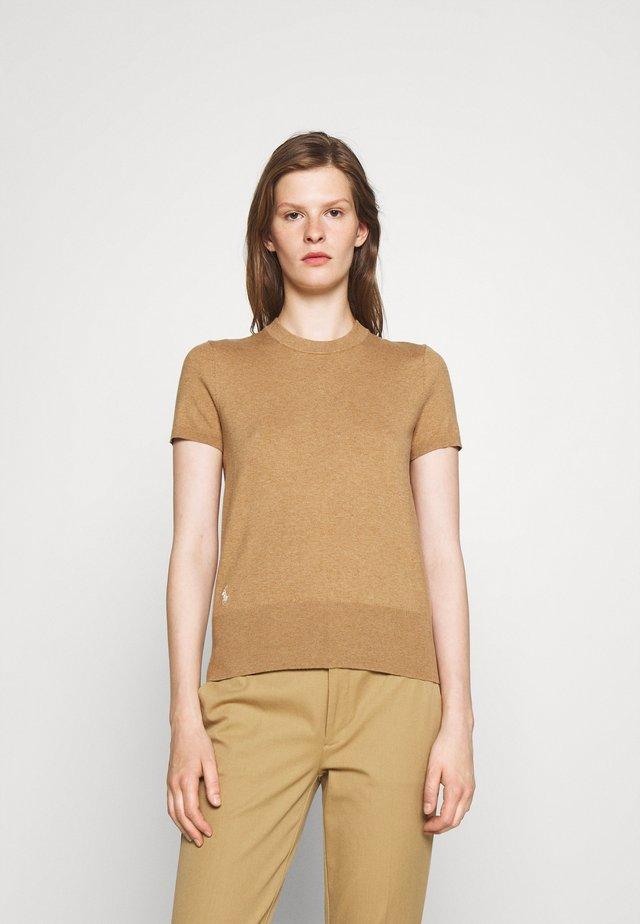SHORT SLEEVE - Basic T-shirt - camel melange