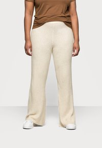 Noisy May Curve - NMALLY LOOSE PANT CURVE - Pantaloni - off white / melange - 0