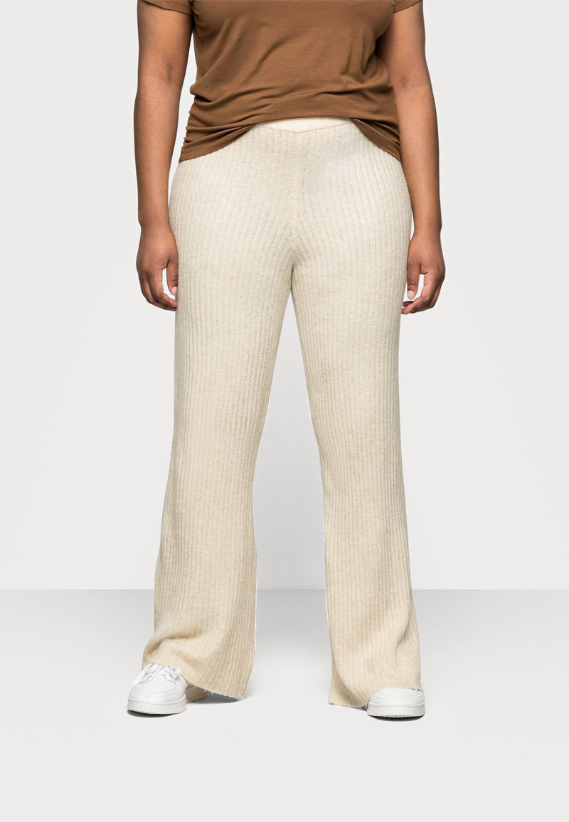 Noisy May Curve - NMALLY LOOSE PANT CURVE - Pantaloni - off white / melange