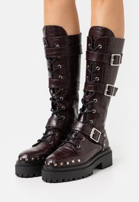 Topshop - ASTEROID KNEE HIGH CHUNKY LACE UP - Lace-up boots - burgundy - 0