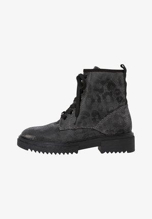 Platform ankle boots - blk leo glitt.