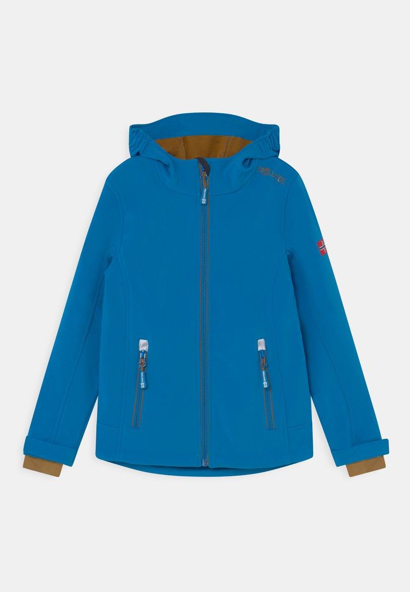 TrollKids - TROLLFJORD UNISEX - Softshellová bunda - azure blue/bronze