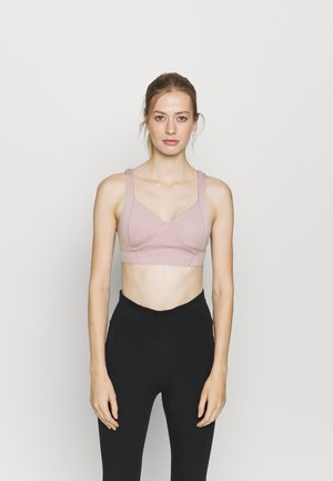 PLUNGE SCALLOP CROP - Light support sports bra - old rose