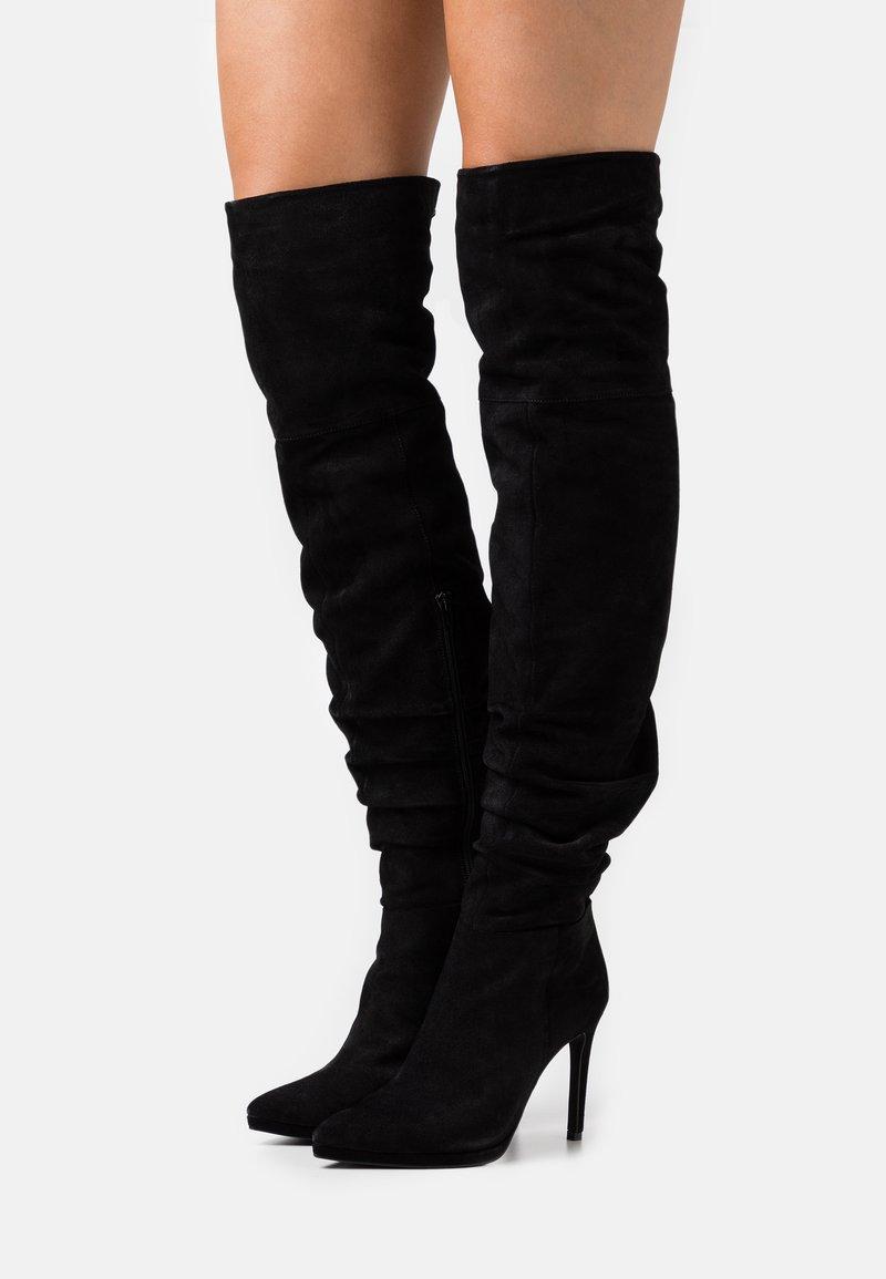 Even&Odd - LEATHER - Boots med høye hæler - black