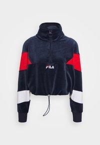 Fila - BELLINI CROPPED HALF ZIP - Sweatshirt - black iris/true red/bright white - 4