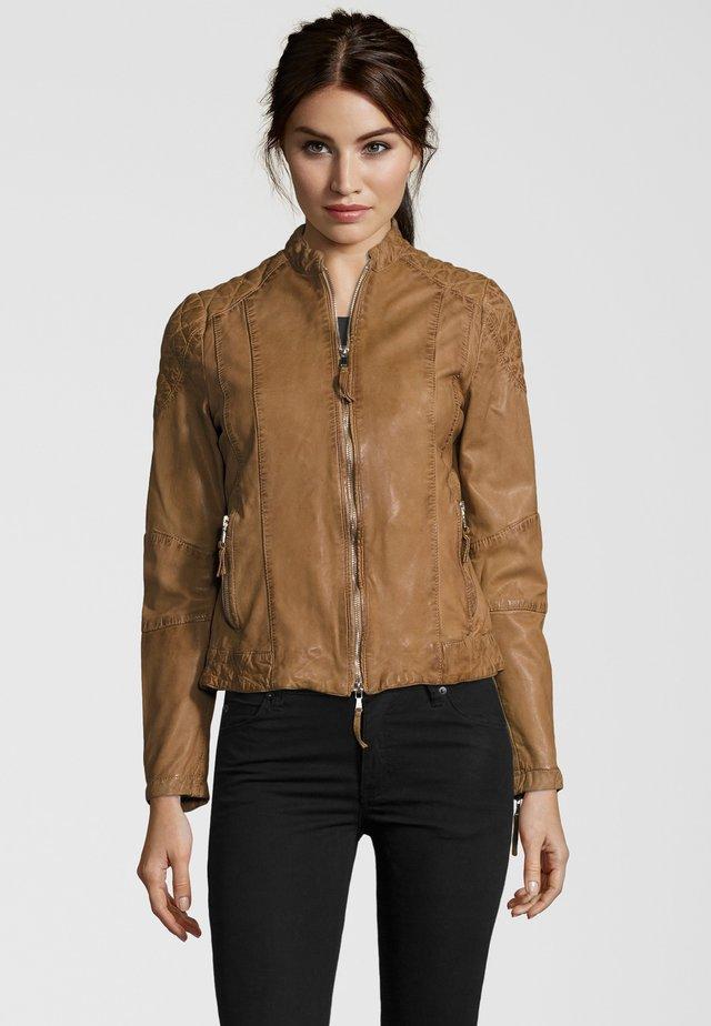 MIT STEHKRAGEN - Leather jacket - light brown
