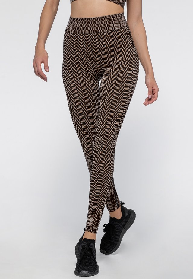 HERRINGBONE SEAMLESS - Legging - black/camel
