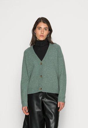 BUTTONED CARDIGAN - Cardigan - dusty green