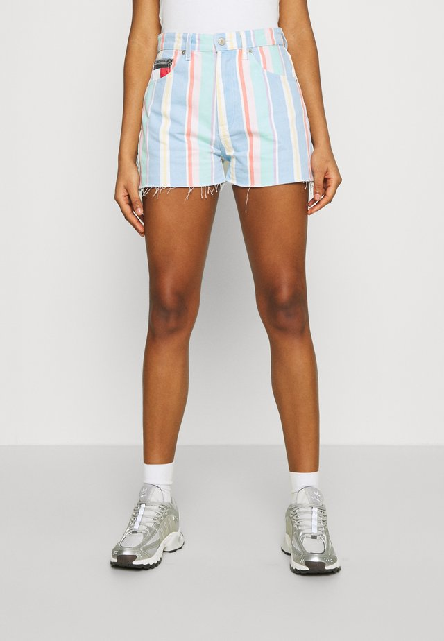 STRIPE - Denim shorts - light powdery blue