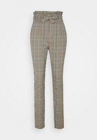 VMEVA LOOSE PAPERBAG LIN CHECK - Trousers - tobacco brown/multi