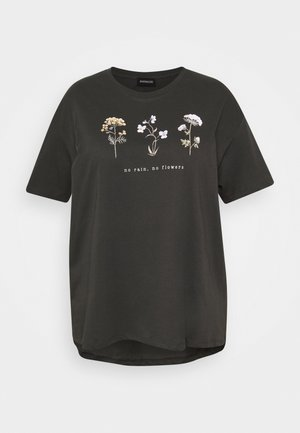 HATTIE WILDFLOWERS NO RAIN TEE - T-shirt z nadrukiem - anthracite