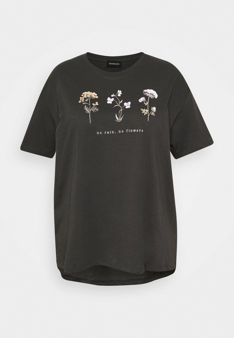 Even&Odd Curvy - HATTIE WILDFLOWERS NO RAIN TEE - Printtipaita - anthracite