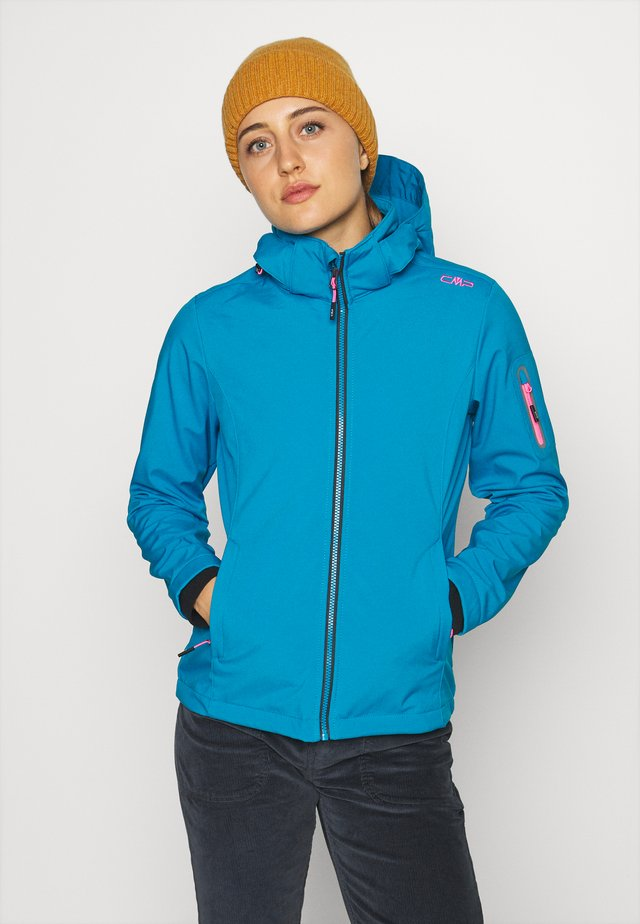 WOMAN JACKET ZIP HOOD - Softshelljas - zaffiro/danubio