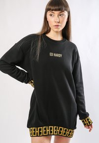 Ed Hardy - BIG-TOUR SWEATER DRESS OVERSIZED - Jersey dress - black - 0