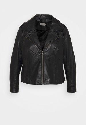 PILLA JACKET - Leather jacket - black deep