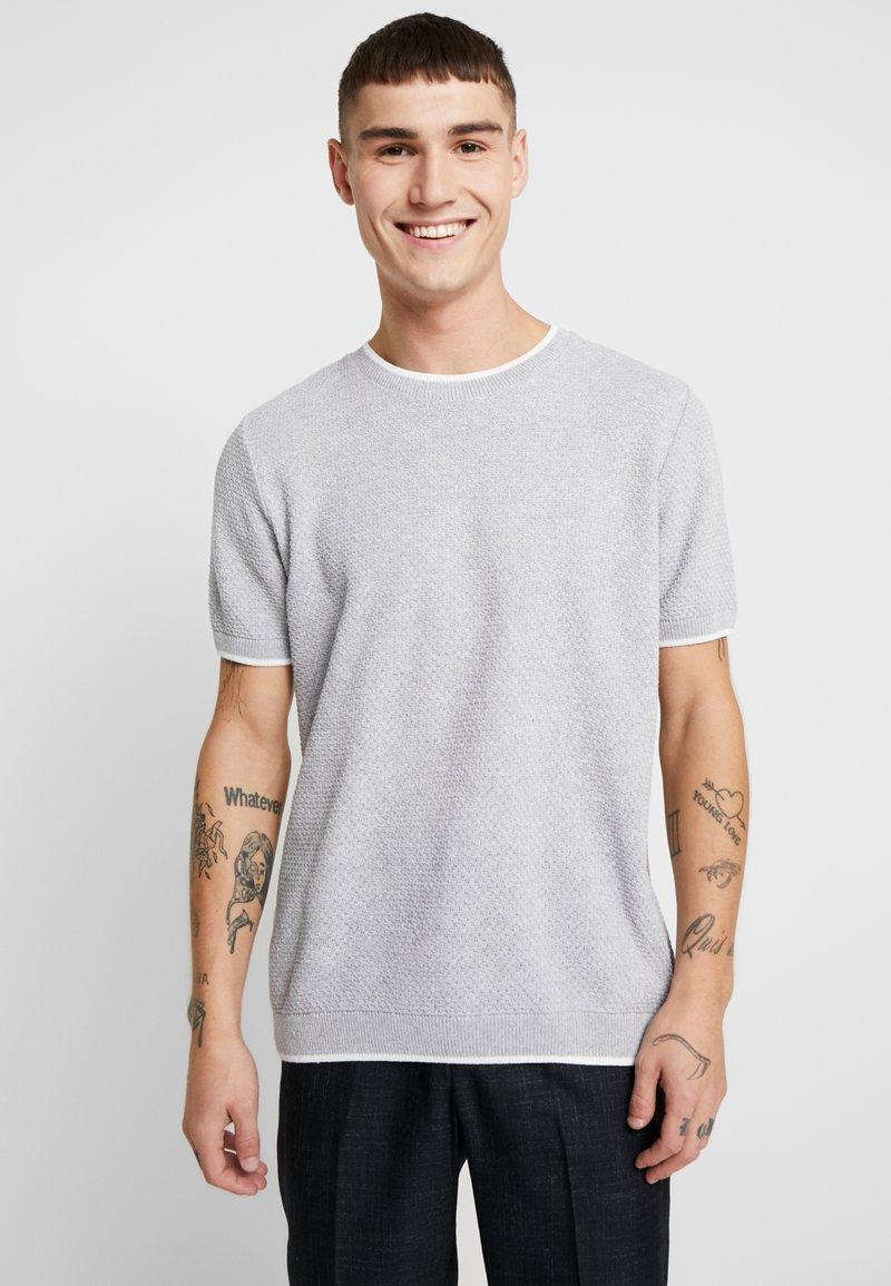 Topman - TEXT CREW - T-shirt - bas - light grey