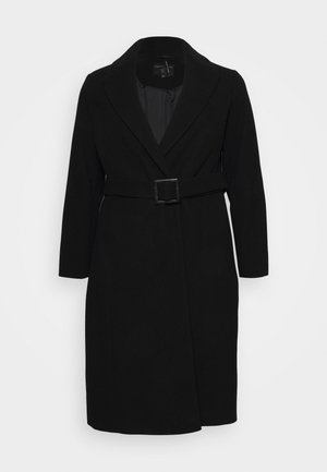 CURVE BELTED WRAP COAT - Mantel - black