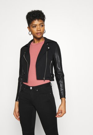 ONLPOPTRASH MIX BIKER JACKET - Faux leather jacket - black