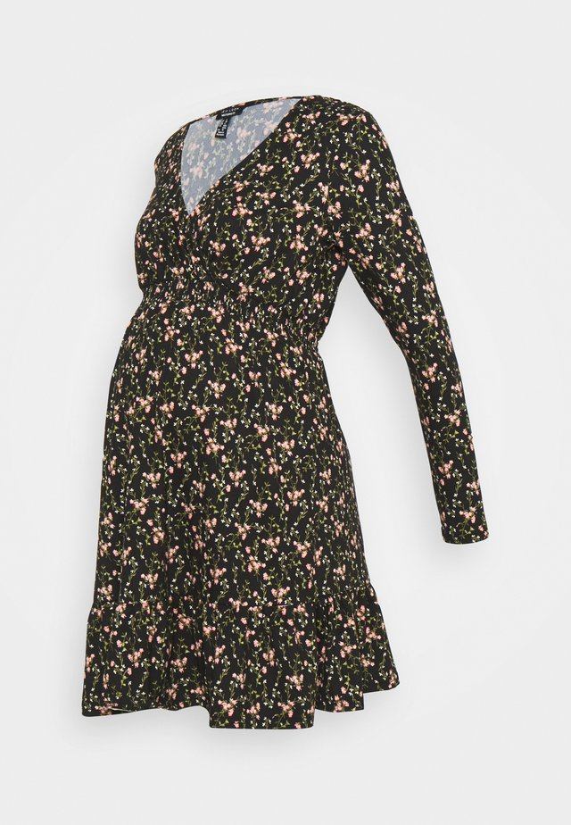 WRAP FRONT DITSY SHIRRED WAIST DRESS - Jersey dress - black
