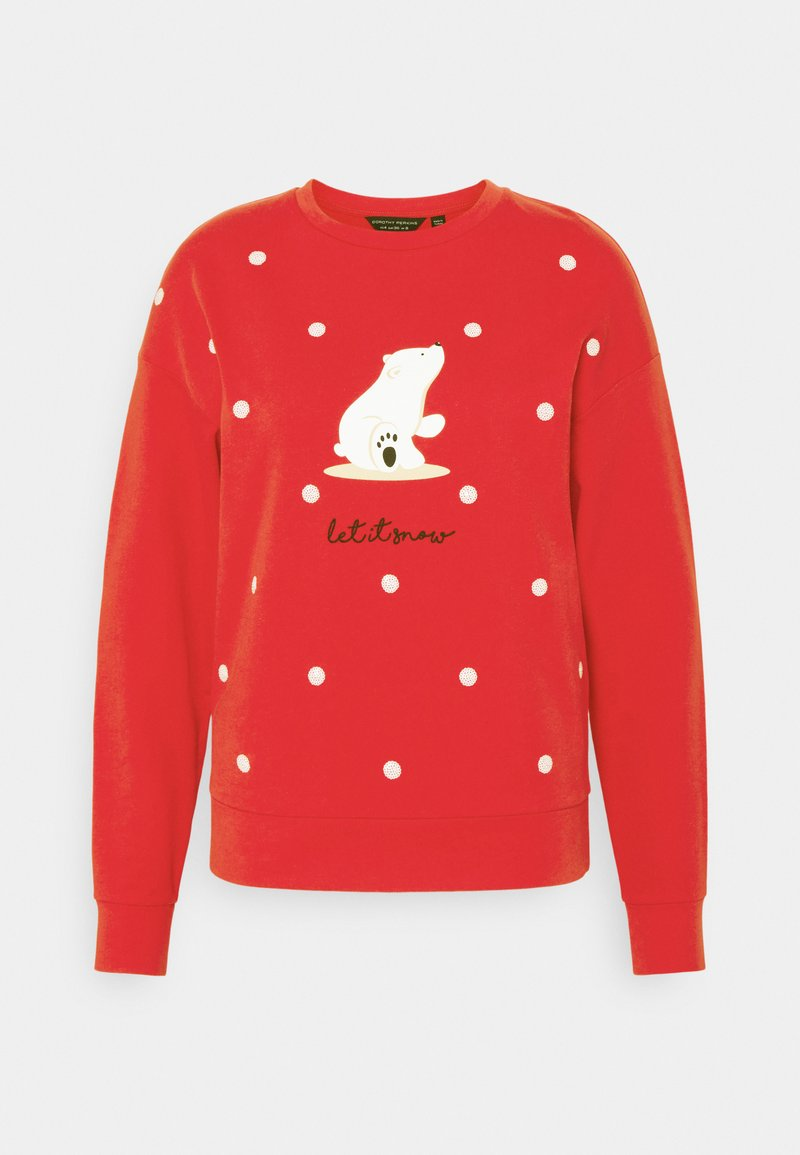 Dorothy Perkins - CHRISTMAS POLAR BEAR SWEATSHIRT - Sweatshirt - red
