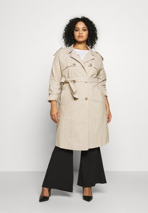 VMPOPPYKENZIE LONG TRENCH COAT CURVY - Trenchcoat - travertine