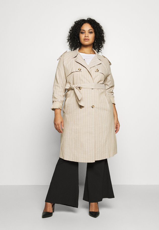 VMPOPPYKENZIE LONG TRENCH COAT CURVY - Trenčkot - travertine