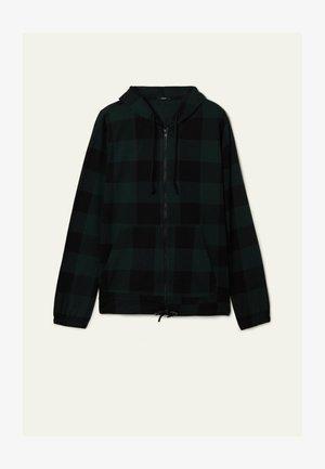 Zip-up hoodie - schwarz - black/pine green tartan check