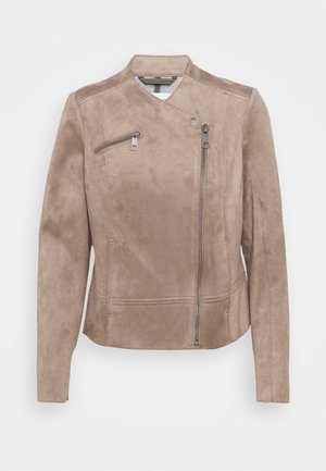 BIKER - Faux leather jacket - taupe