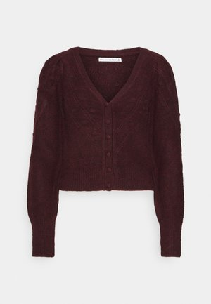 BOBBLE STITCH SHORT CARDI  - Gilet - burgundy
