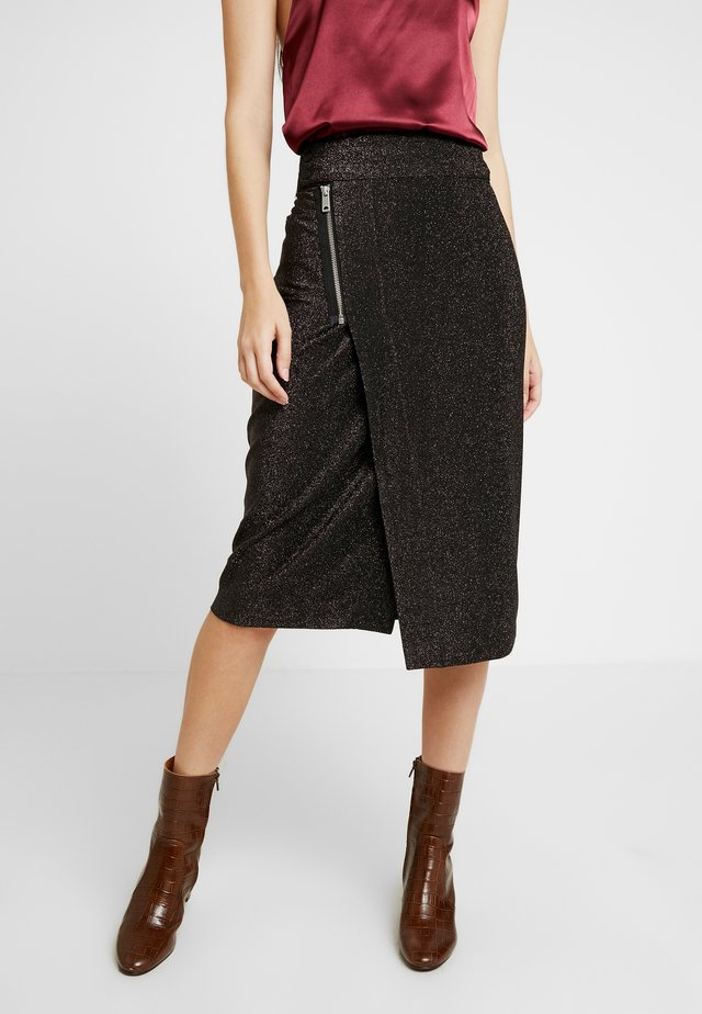 MIDI SKIRT WITH ZIPPER - Áčková sukně - black