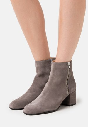 LEATHER - Boots à talons - grey