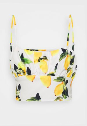 LEMON PRINT RUCHED BUST BRALET - Topper - white