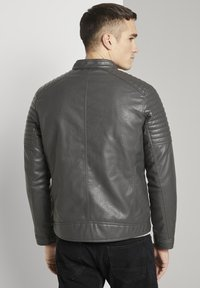 TOM TAILOR - Faux leather jacket - stone grey fake leather - 2