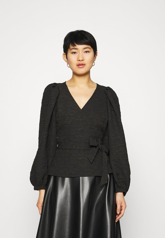 TODA WRAP BLOUSE - Bluser - black