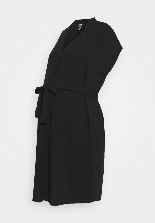 V NECK PATCH BELTED - Day dress - black