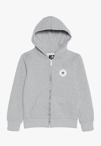 Converse - CHUCK PATCH FULL ZIP HOODIE  - Hoodie met rits - dark grey heather - 0