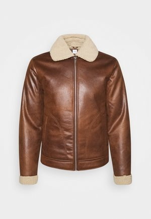 JJFLIGHT JACKET - Faux leather jacket - cognac