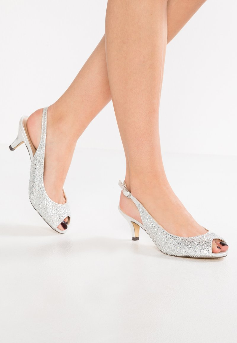 Paradox London Pink - WIDE FIT CELESTE - Peep toes - silver glitter