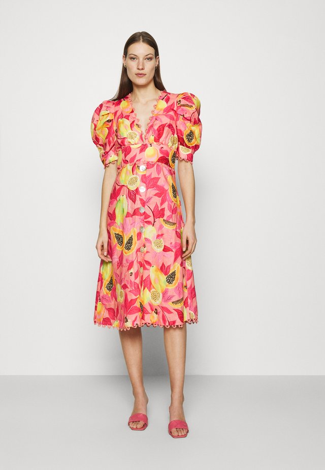 PAPAYA SALAD BUTTON DOWN MIDI DRESS - Košilové šaty - multi