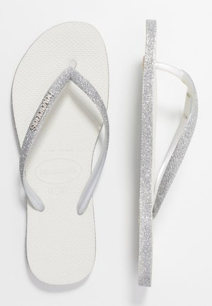 SLIM FIT SPARKLE - T-bar sandals - white