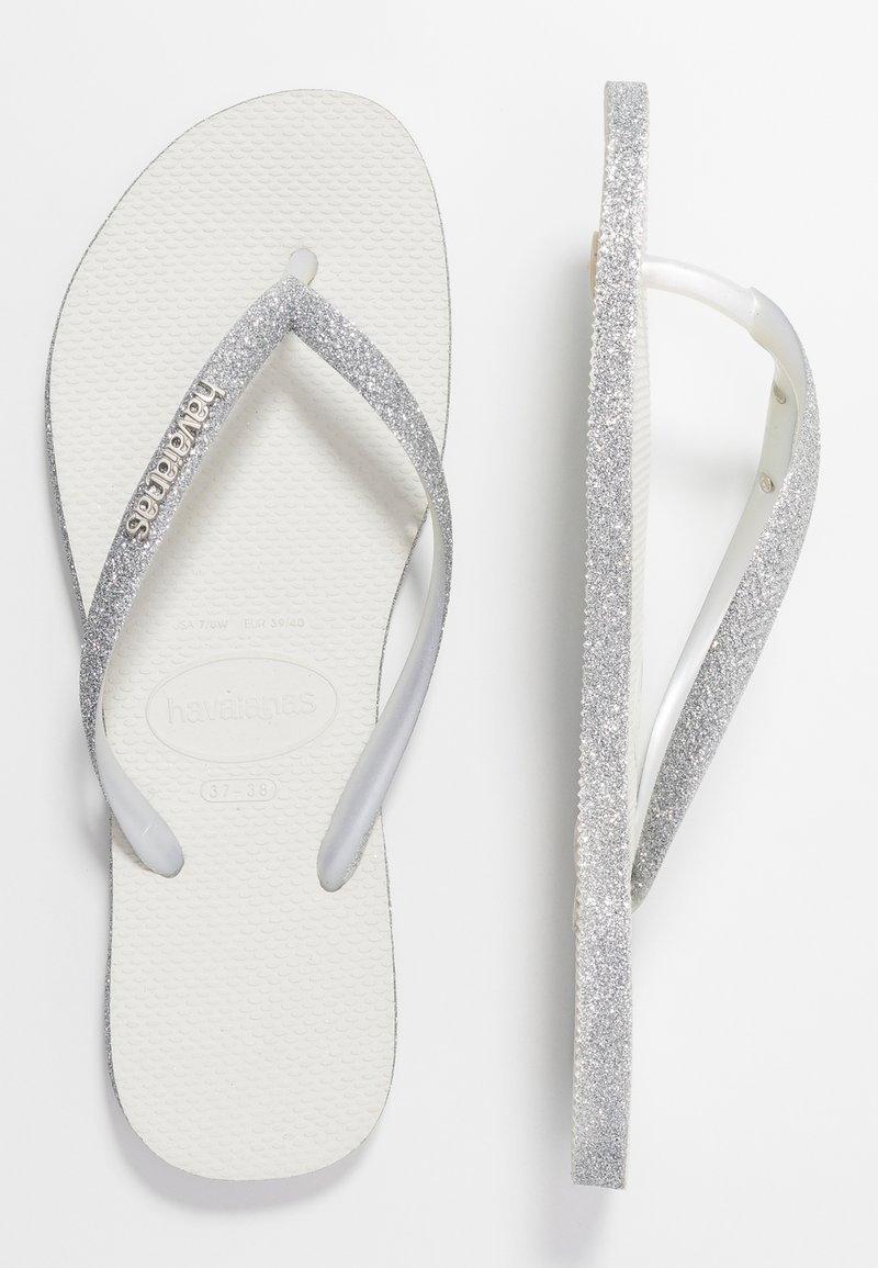 Havaianas - SLIM FIT SPARKLE - Sandály s odděleným palcem - white