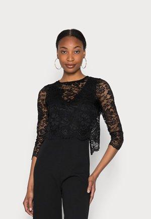 Occasion SET - Detacheable lace top with V neck sleeveless jumpsuit - Jumpsuit - black