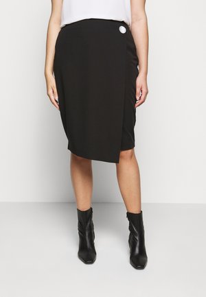 BUTTON DOWN PENCIL SKIRT - Pouzdrová sukně - black
