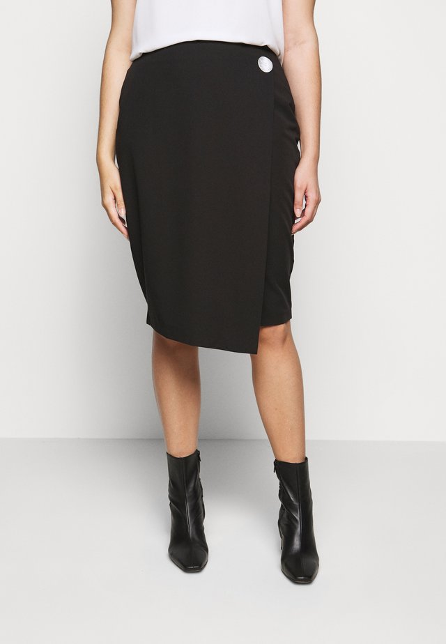 BUTTON DOWN PENCIL SKIRT - Spódnica ołówkowa  - black