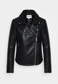 NA-KD - SHORT BACK BIKER JACKET - Leather jacket - black - 5