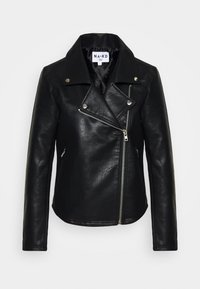 SHORT BACK BIKER JACKET - Leather jacket - black