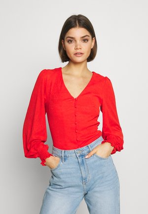 V NECK BUTTON FRONT JERSEY BLOUSE - Cardigan - red