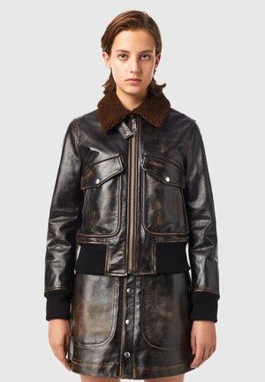 L TRACY - Leather jacket - black